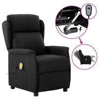 vidaXL Electric Massage Recliner Black Fabric (289788+327164)