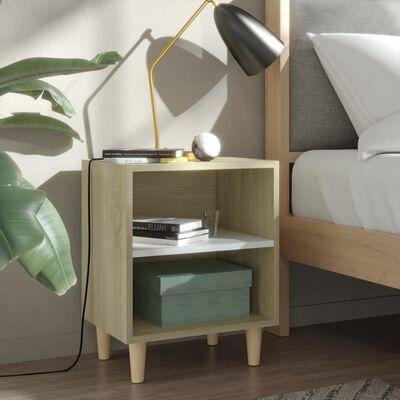 vidaXL Noptiere cu picioare lemn 2 buc. alb/stejar Sonoma 40x30x50cm