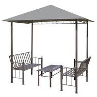 vidaXL Pavilion de grădină cu masă și bănci, antracit, 2,5x1,5x2,4 m