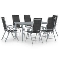 vidaXL Set mobilier de grădină, 7 piese, argintiu și negru, aluminiu