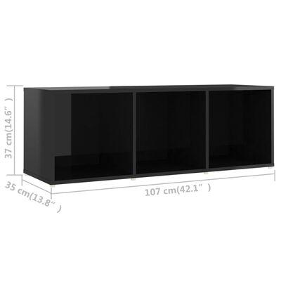 vidaXL Comodă TV, negru extralucios, 107x35x37 cm, PAL
