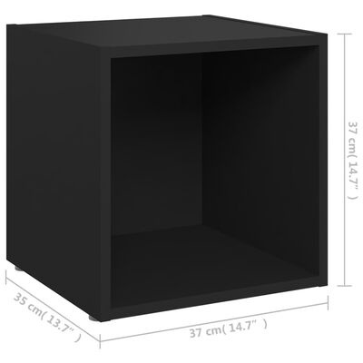 vidaXL Comode TV, 4 buc., negru, 37x35x37 cm, PAL