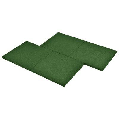 vidaXL Plăci de protecție la cădere 24 buc, verde, 50x50x3 cm, cauciuc