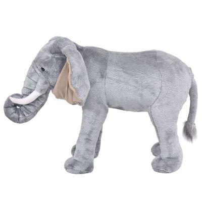 vidaXL Elefant de jucărie din pluș, gri XXL