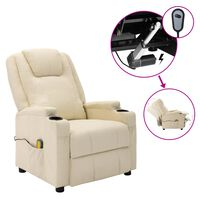 vidaXL Electric Massage Reclining Chair Cream White Faux Leather (321312+327254)