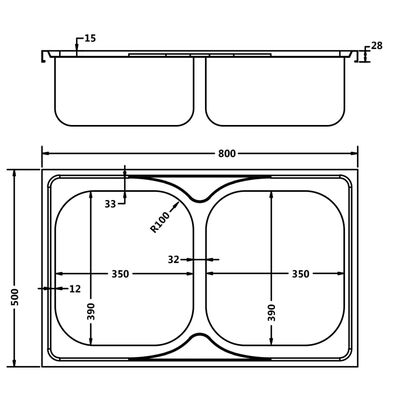 vidaXL Chiuvetă bucătărie cu 2 cuve, argintiu, 800x500x155 mm, oțel