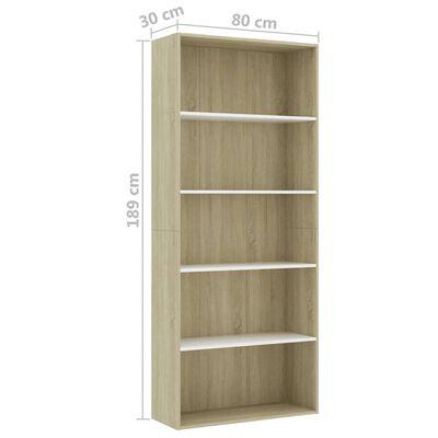 vidaXL Bibliotecă cu 5 rafturi, alb & stejar Sonoma, 80x30x189cm, PAL