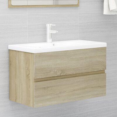 vidaXL Set mobilier de baie, stejar sonoma, PAL