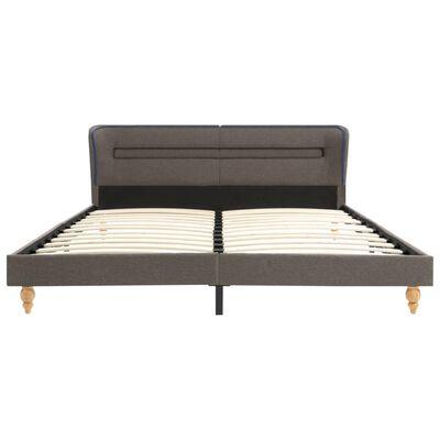 vidaXL Cadru de pat cu LED-uri, gri taupe, 180x200 cm, material textil