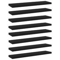 vidaXL Plăci pentru bibliotecă, 8 buc., negru, 40 x 10 x 1,5 cm, PAL