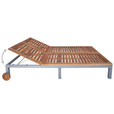 vidaXL Șezlong cu pernă, 2 persoane, lemn masiv de acacia și oțel