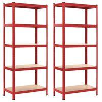 vidaXL Rafturi depozitare, 2 buc., roșu, 80x40x180 cm, oțel și MDF