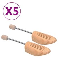 vidaXL Șanuri de pantofi, 5 perechi, mărime 42-43, lemn masiv de pin