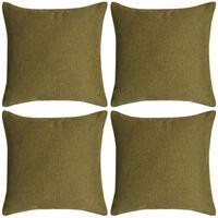 vidaXL Huse de pernă cu aspect de pânză, 80 x 80 cm, verde, 4 buc.