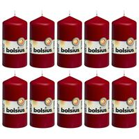 Bolsius Lumânări bloc, 10 buc., roșu vin, 120 x 58 mm