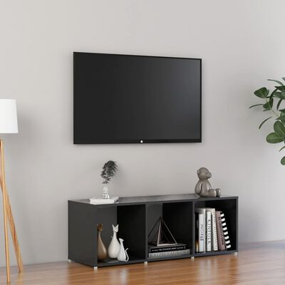 vidaXL Comodă TV, gri extralucios, 107x35x37 cm, PAL