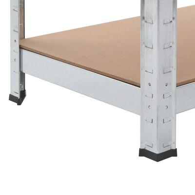 vidaXL Rafturi depozitare, 2 buc., argintiu, 80x40x160 cm, oțel și MDF
