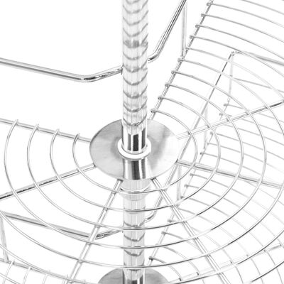 vidaXL Coș sârmă bucătărie 2 rafturi, 270 grade, argintiu, 71x71x80 cm