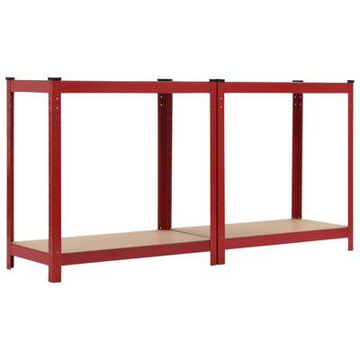 vidaXL Rafturi depozitare, 2 buc., roșu, 80x40x160 cm, oțel și MDF