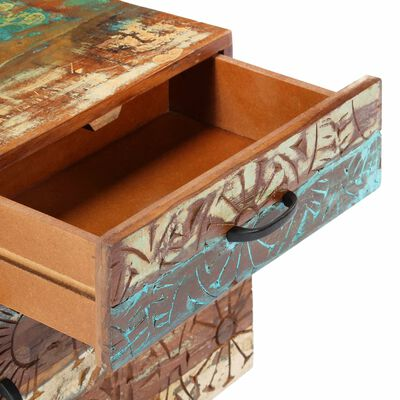 vidaXL Noptieră sculptată manual, 40 x 30 x 50 cm, lemn masiv reciclat