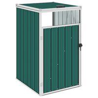 vidaXL Magazie pentru pubelă, verde, 72 x 81 x 121 cm, oțel