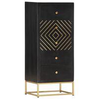 vidaXL Dulap cu sertare, negru/auriu, 45 x 30 x 105 cm, lemn de mango
