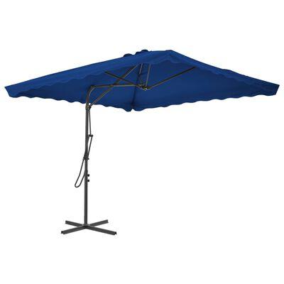 vidaXL Umbrelă de exterior cu stâlp din oțel, albastru, 250x250x230 cm