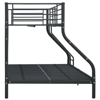 vidaXL Cadru de pat supraetajat, negru, 140 x 200/90 x 200 cm, metal