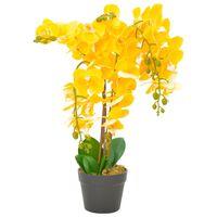 vidaXL Plantă artificială orhidee cu ghiveci, galben, 60 cm