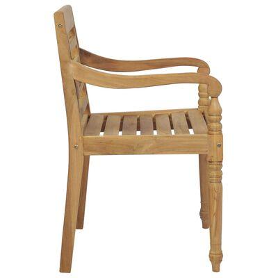 vidaXL Scaune Batavia cu perne crem, 2 buc., lemn masiv de tec