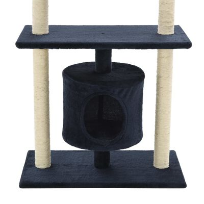 vidaXL Ansamblu pisici, stâlpi din funie sisal, 95 cm Albastru închis