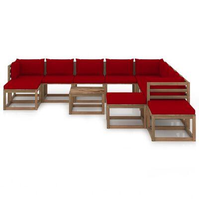 vidaXL Set mobilier de grădină cu perne roșu vin, 12 piese