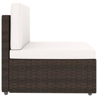 vidaXL Set mobilier de grădină cu perne, 5 piese, maro, poliratan