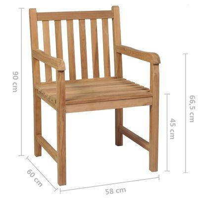 vidaXL Scaune de grădină cu perne crem, 6 buc., lemn masiv de tec