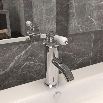 vidaXL Robinet chiuvetă de baie, finisaj cromat, 130x180 mm