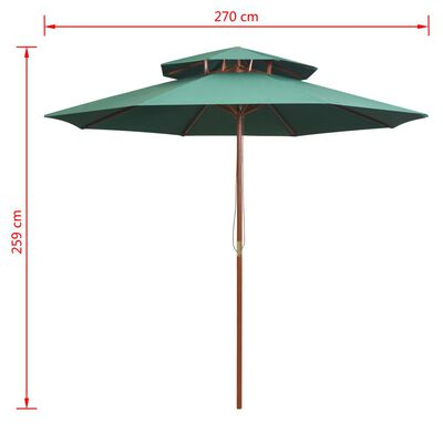 vidaXL Umbrelă de soare dublă, 270x270 cm, stâlp de lemn, verde