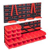 vidaXL Set cutii depozitare 103 piese cu panouri de perete, roșu&negru