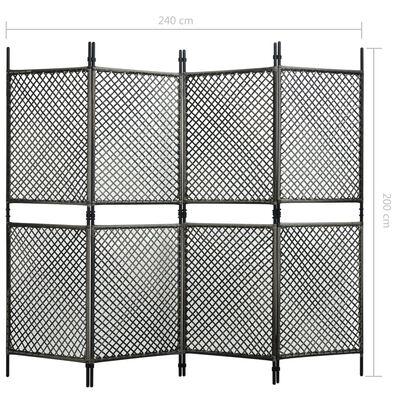 vidaXL Paravan cameră, 4 panouri, antracit, 240 x 200 cm, poliratan