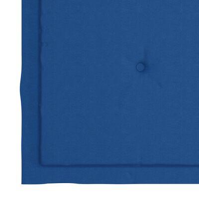 vidaXL Scaune grădină cu perne albastre, 2 buc., lemn masiv de tec