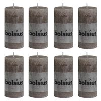 Bolsius Lumânări bloc rustice, 8 buc., gri taupe, 100 x 50 mm