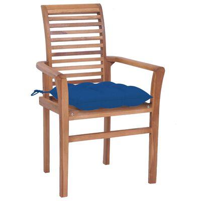 vidaXL Scaune de masă cu perne albastre, 6 buc., lemn masiv de tec
