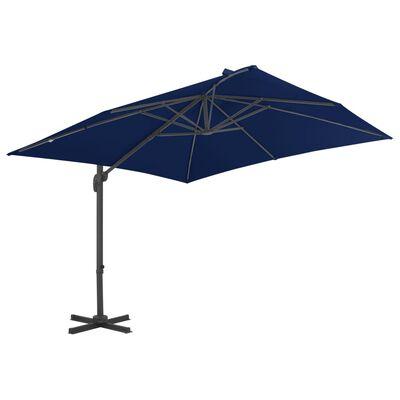vidaXL Umbrelă suspendată cu stâlp din aluminiu albastru azuriu 3x3 m