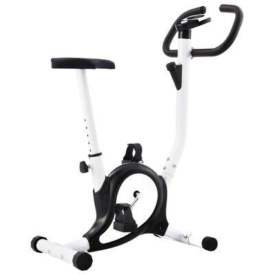 vidaXL Bicicletă fitness cu centură de rezistență, negru