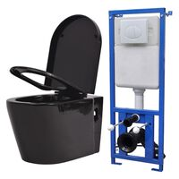 vidaXL Vas toaletă suspendat cu rezervor încastrat, ceramică, negru