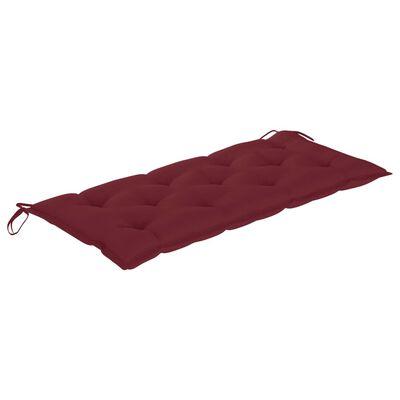 vidaXL Bancă de grădină cu pernă roșu vin, 120 cm, lemn masiv de tec