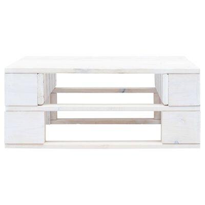 vidaXL Taburet din paleți de grădină, alb, lemn