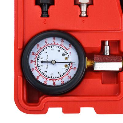 vidaXL Set tester presiune ulei cu manometru, 12 piese