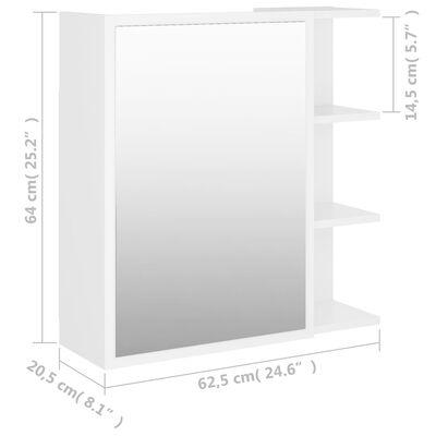vidaXL Dulap de baie cu oglindă, alb, 62,5 x 20,5 x 64 cm, PAL