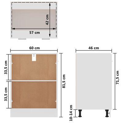 vidaXL Dulap inferior, alb extralucios, 60 x 46 x 81,5 cm, PAL