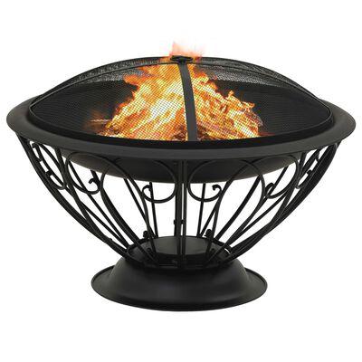 vidaXL Vatră de foc cu vătrai, 75 cm, oțel, XXL